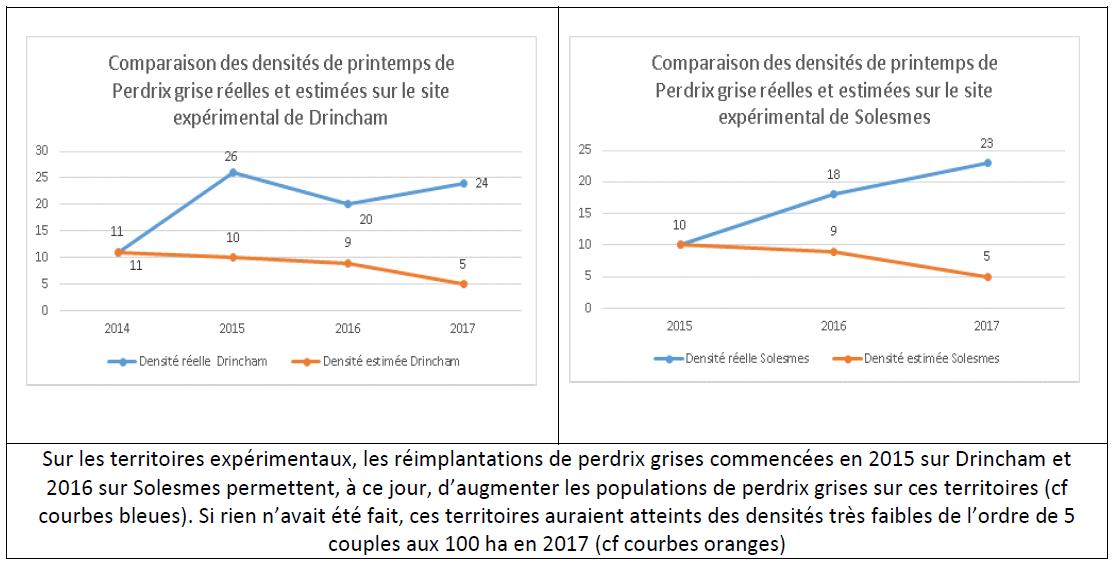 comparaison densite perdrix